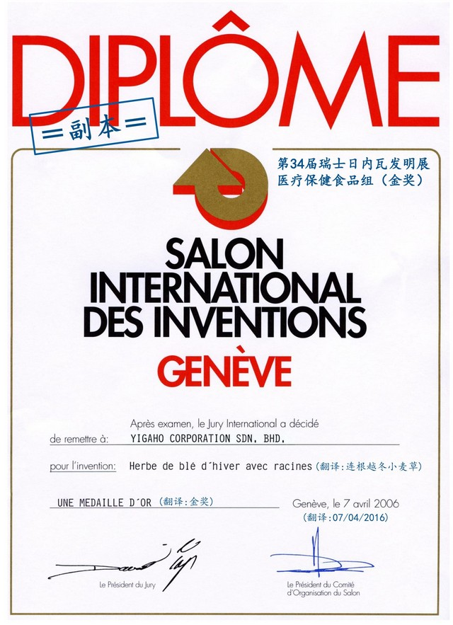 第34届瑞士日内瓦国际发明奖(医疗保健食品组)金奖